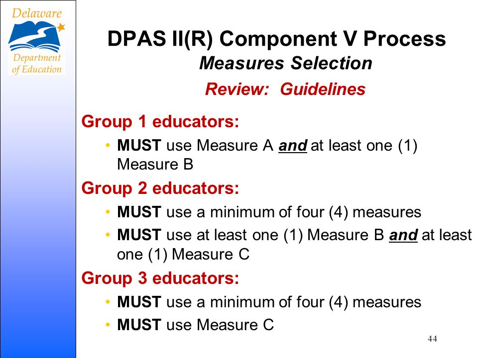 DPAS II(R) Component V Process Measures Selection