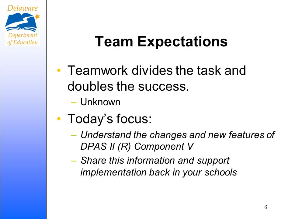 Team Expectations Teamwork divides the task and doubles the success.