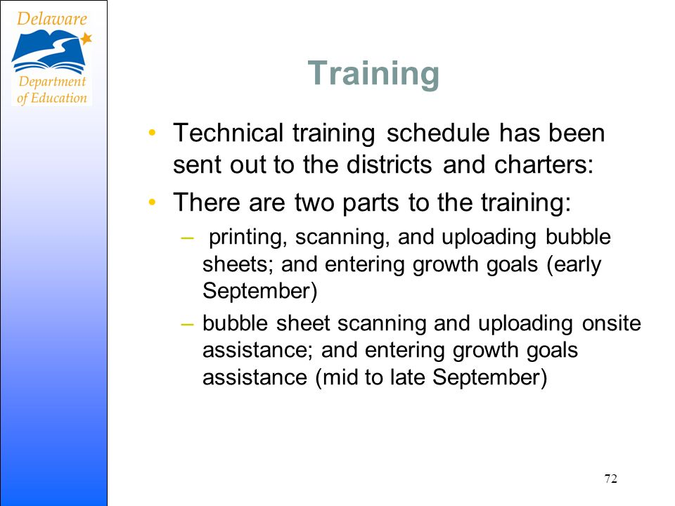 Training Technical training schedule has been sent out to the districts and charters: There are two parts to the training:
