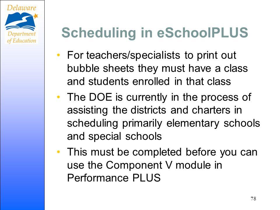 Scheduling in eSchoolPLUS