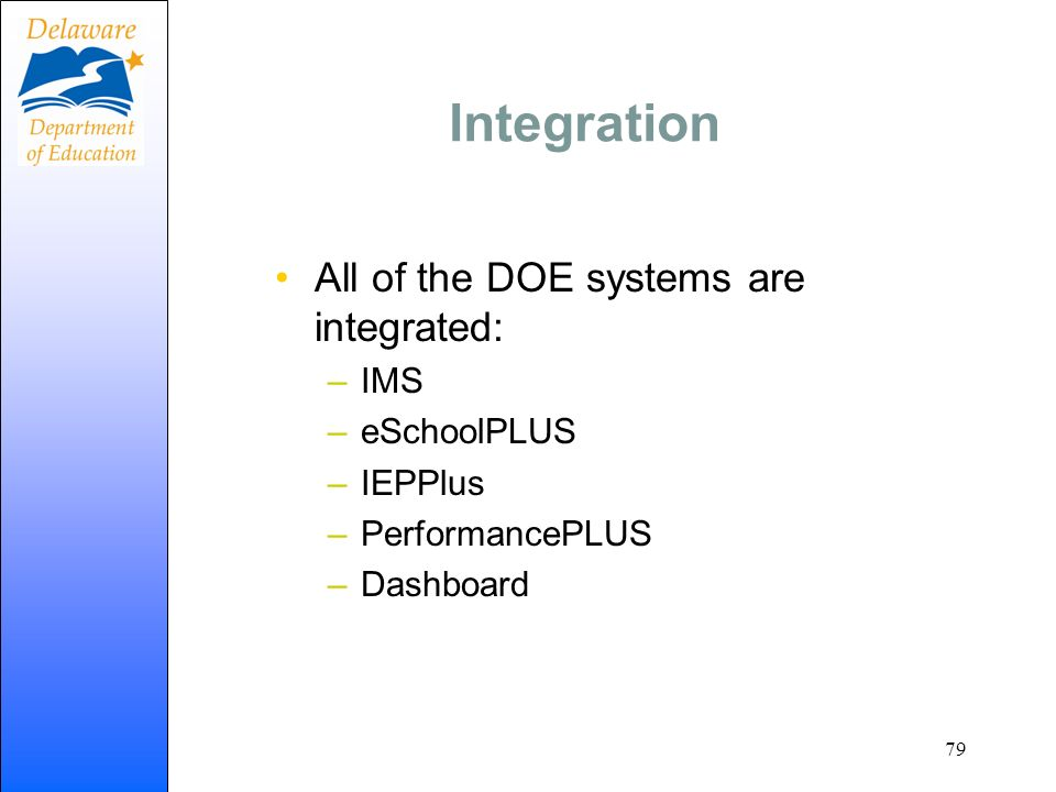Integration All of the DOE systems are integrated: IMS eSchoolPLUS