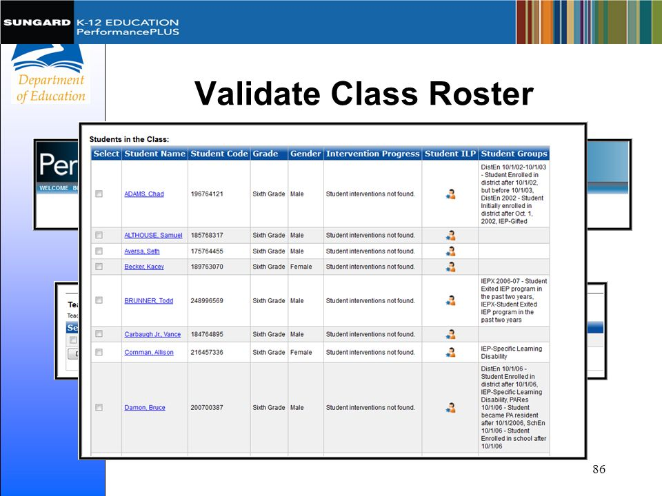 Validate Class Roster