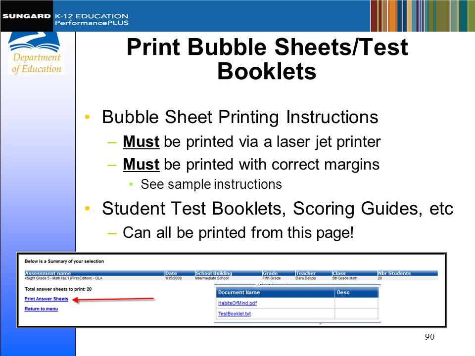 Print Bubble Sheets/Test Booklets