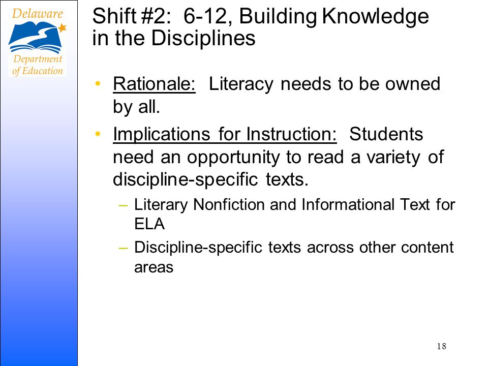 Shift #2: 6-12, Building Knowledge in the Disciplines