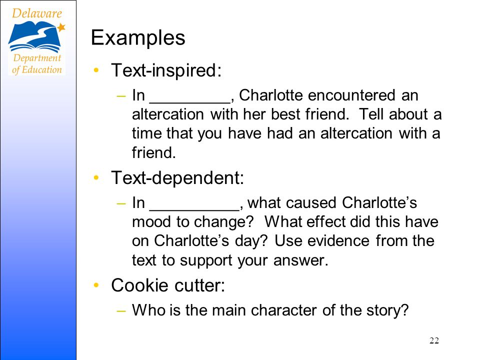 Examples Text-inspired: Text-dependent: Cookie cutter: