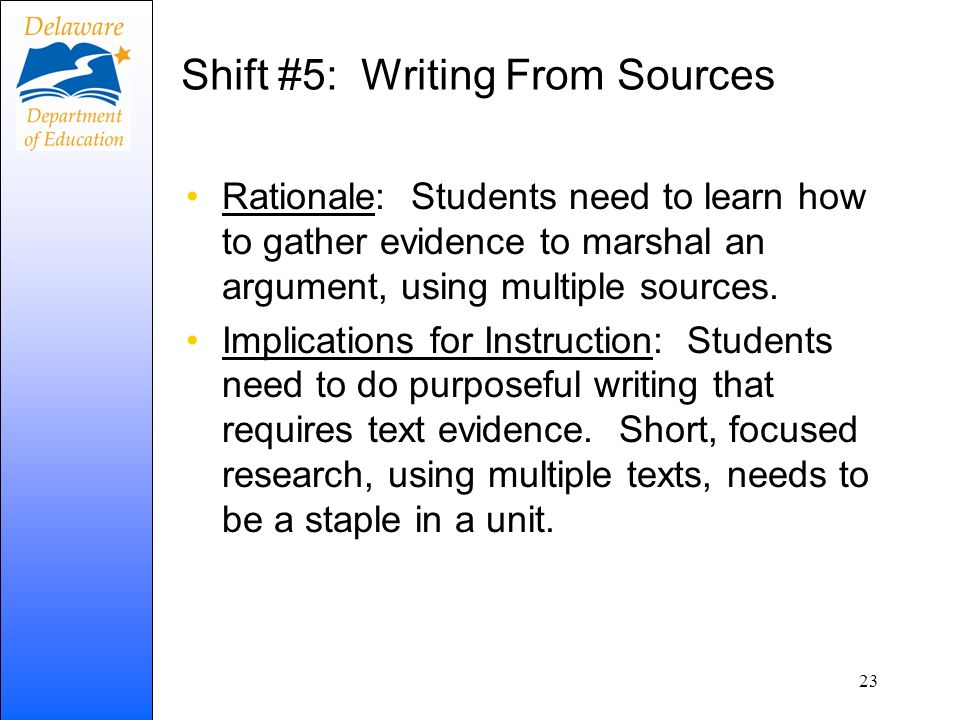 Shift #5: Writing From Sources