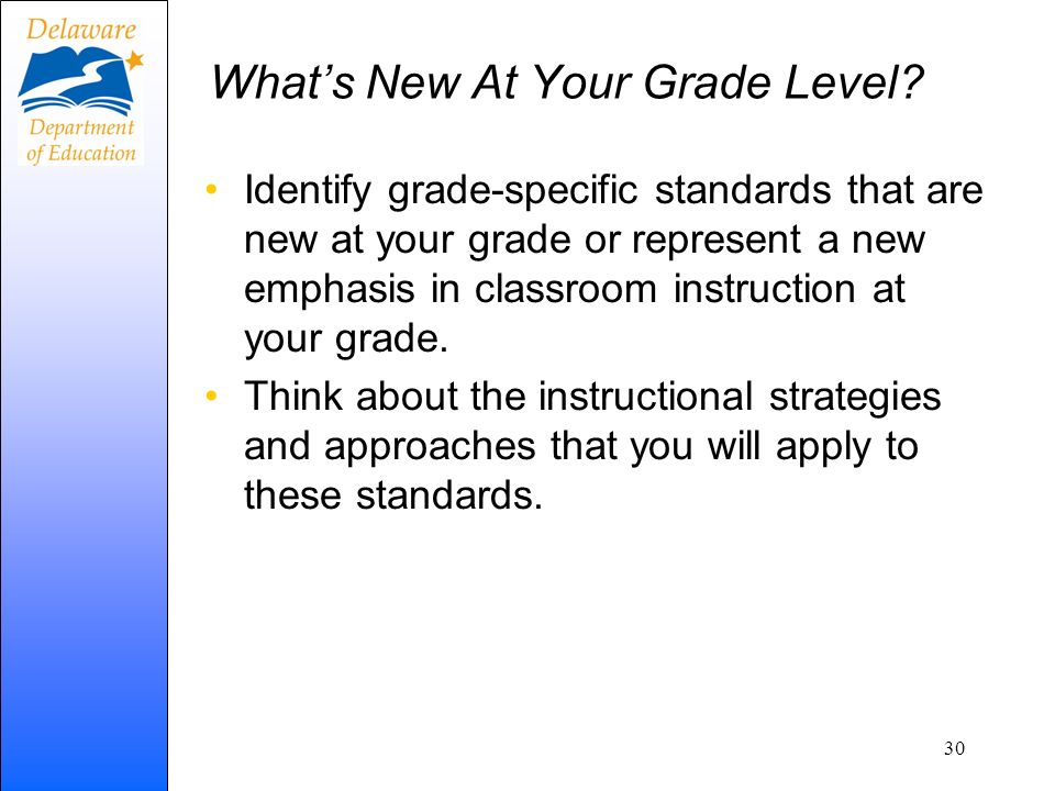 What's New At Your Grade Level