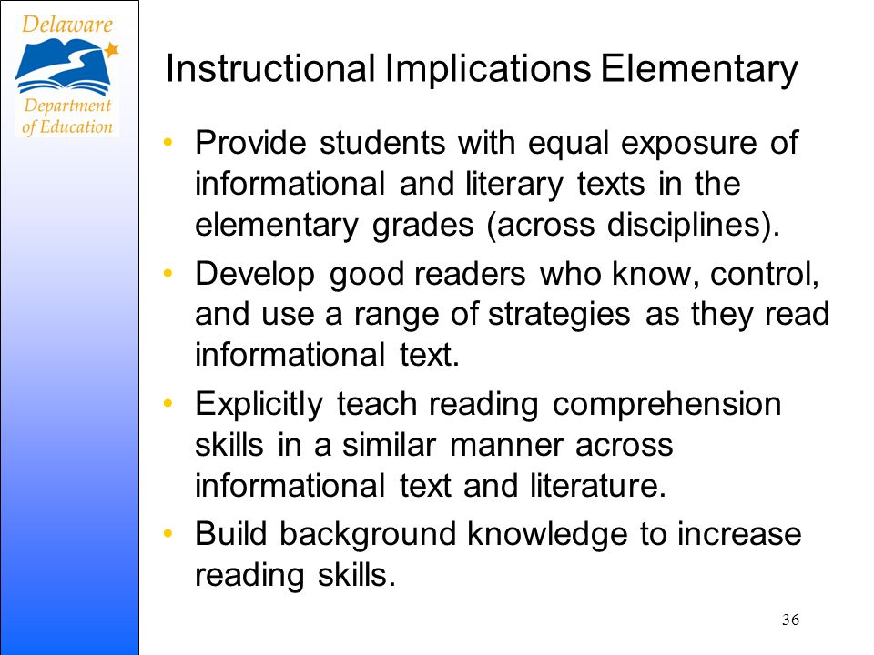 Instructional Implications Elementary