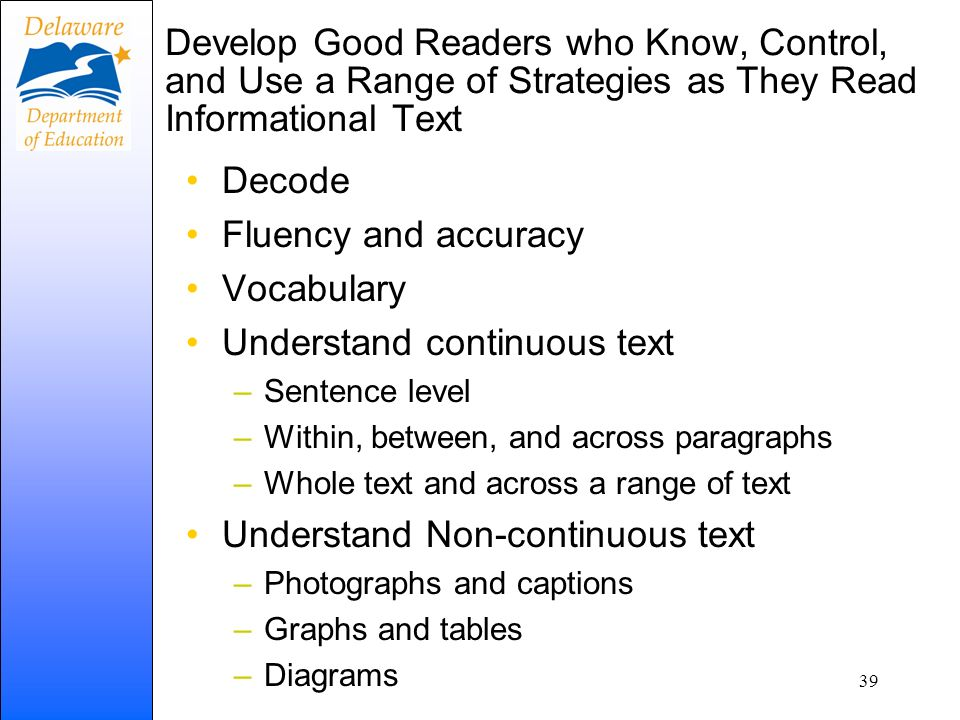 Understand continuous text
