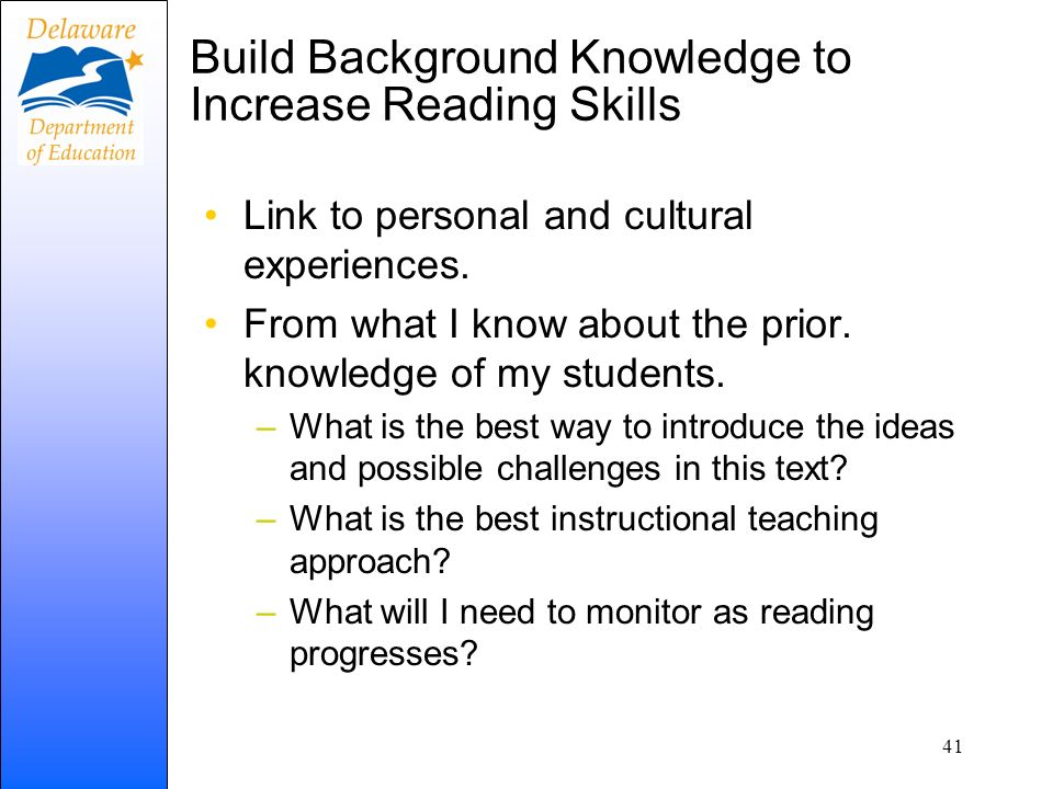 Build Background Knowledge to Increase Reading Skills