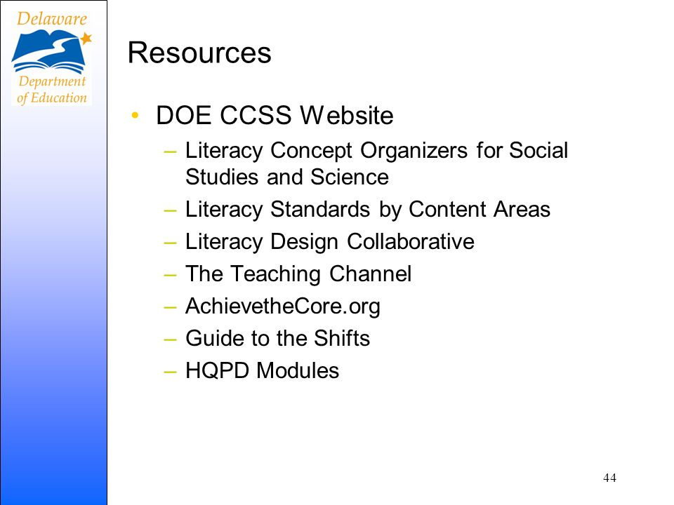 Resources DOE CCSS Website