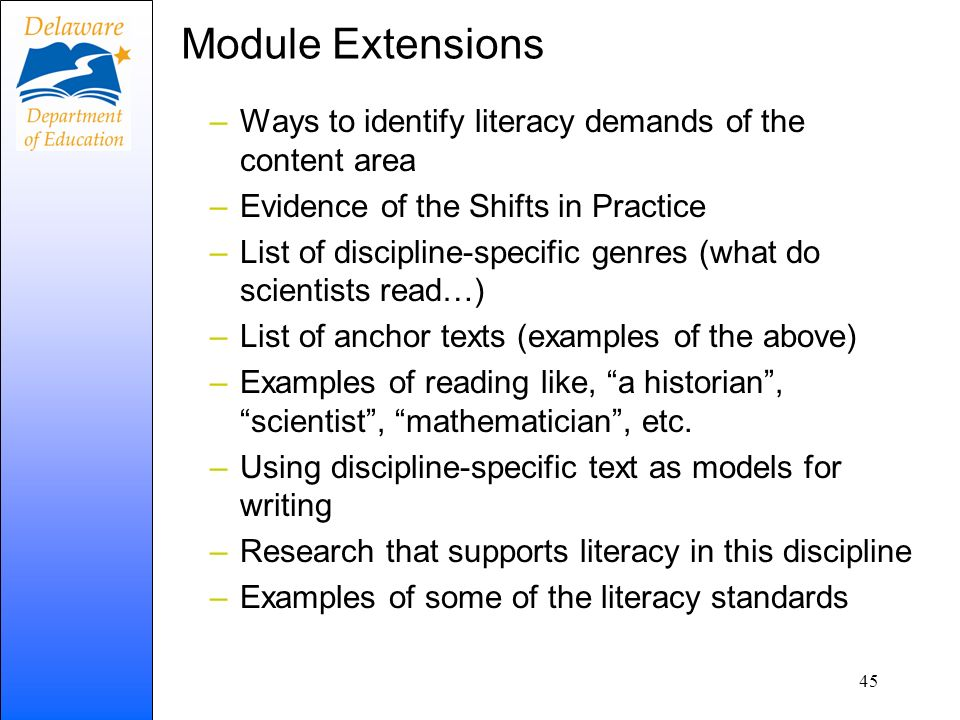 Module Extensions Ways to identify literacy demands of the content area. Evidence of the Shifts in Practice.