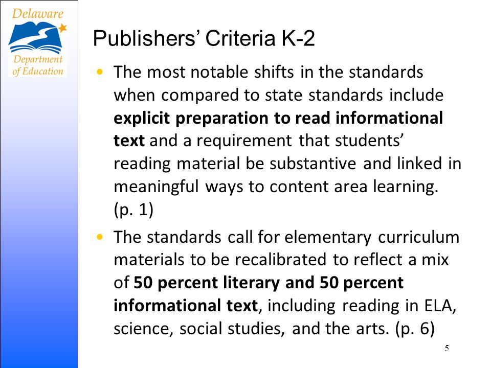 Publishers' Criteria K-2