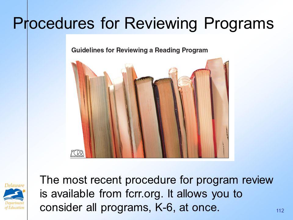Procedures for Reviewing Programs