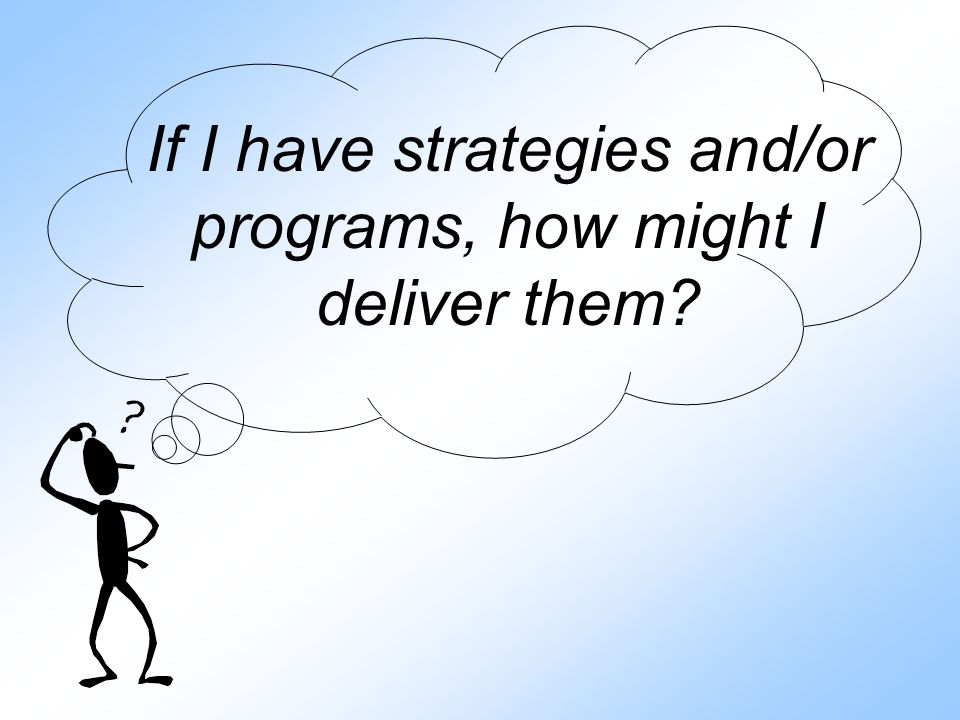 If I have strategies and/or programs, how might I deliver them