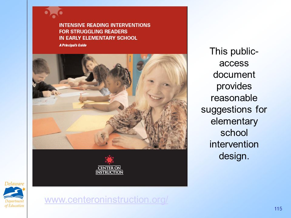 This public-access document provides reasonable suggestions for elementary school intervention design.