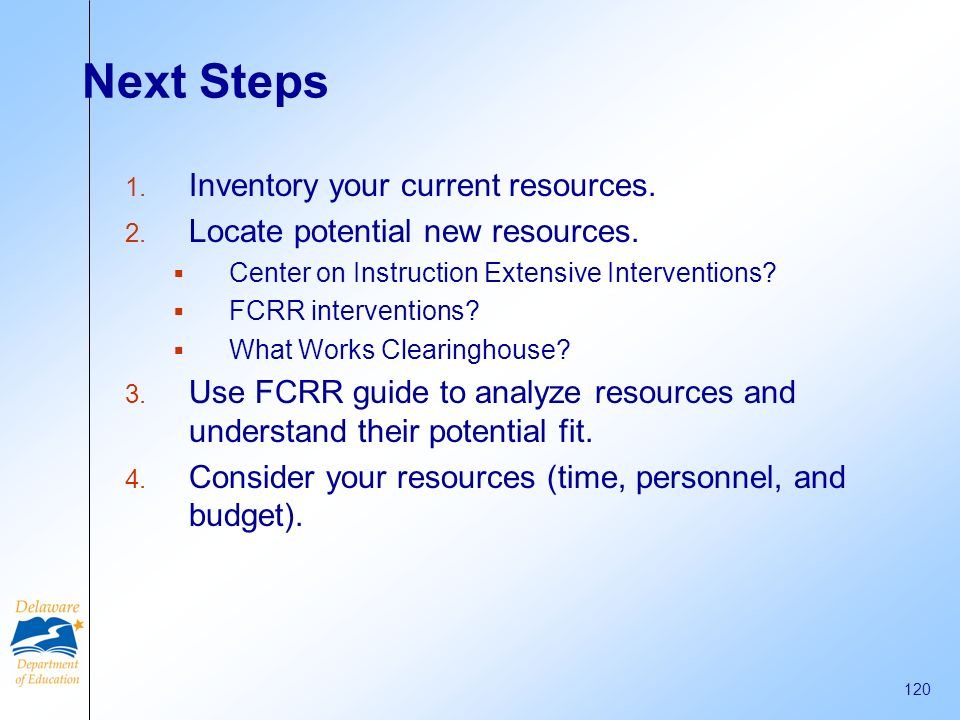 Next Steps Inventory your current resources.