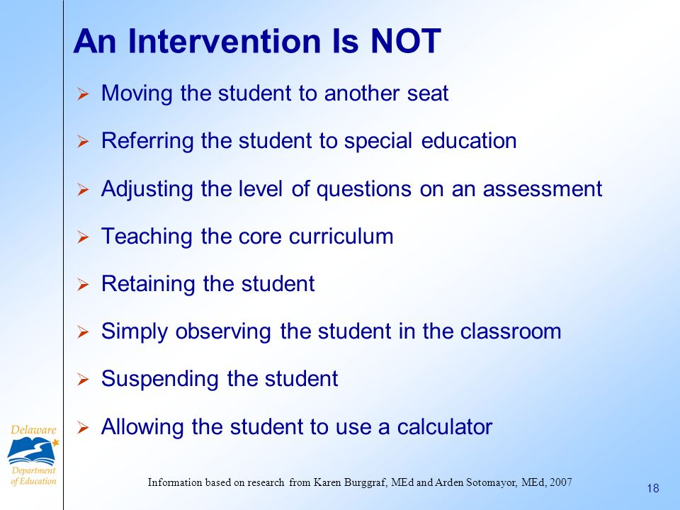 An Intervention Is NOT Moving the student to another seat