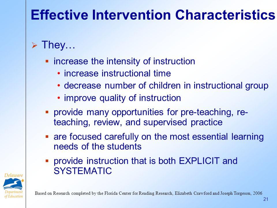 Effective Intervention Characteristics