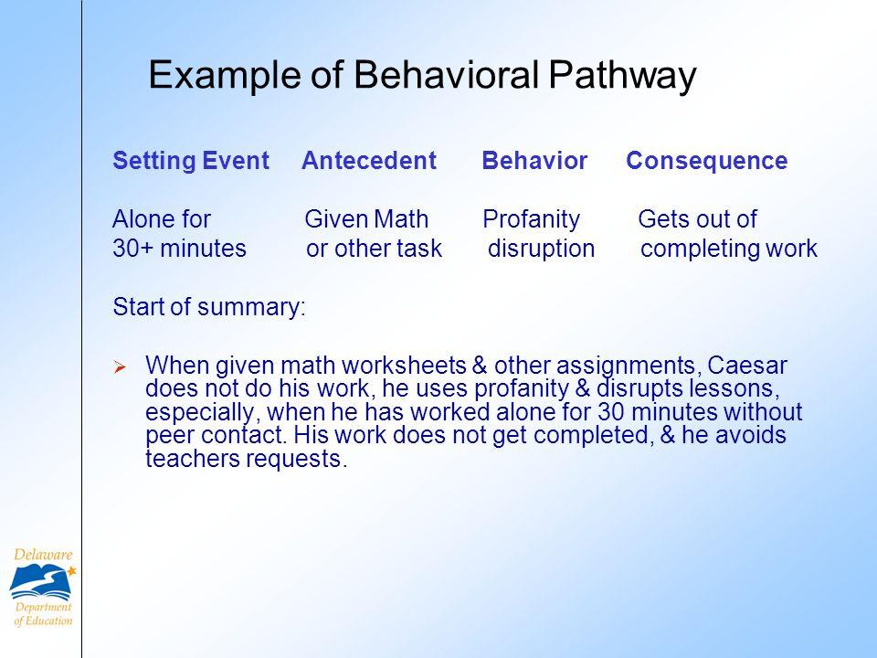 Example of Behavioral Pathway