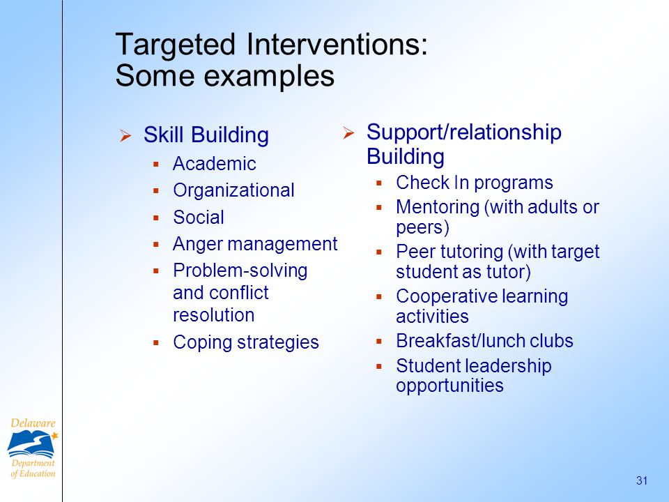Targeted Interventions: Some examples