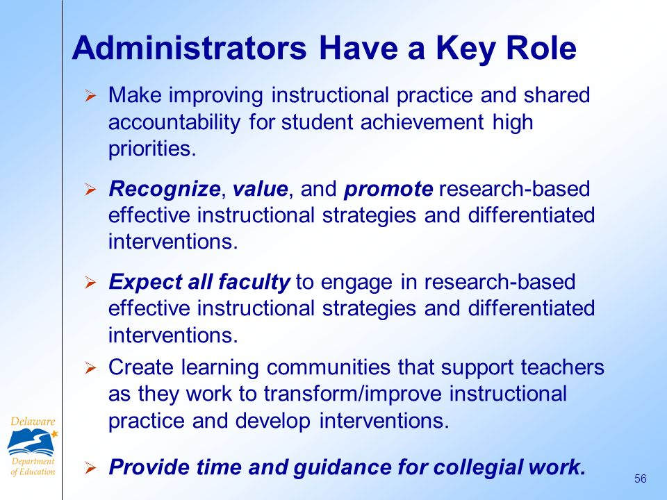 Administrators Have a Key Role