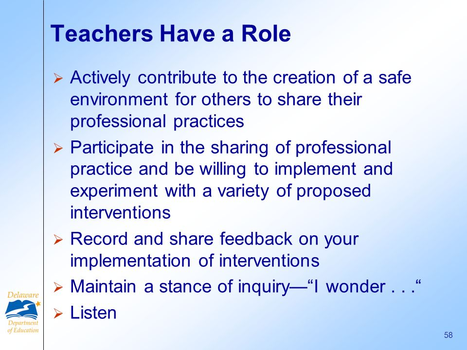 Teachers Have a Role Actively contribute to the creation of a safe environment for others to share their professional practices.