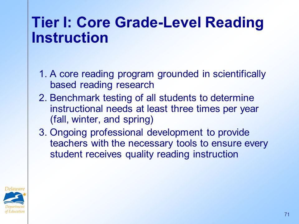 Tier I: Core Grade-Level Reading Instruction