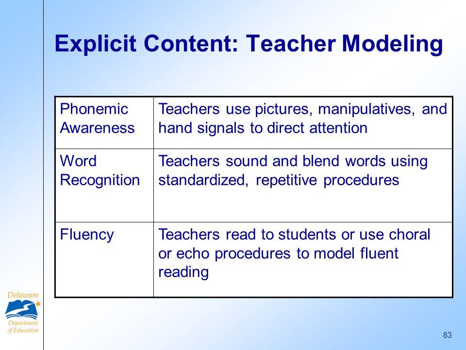 Explicit Content: Teacher Modeling