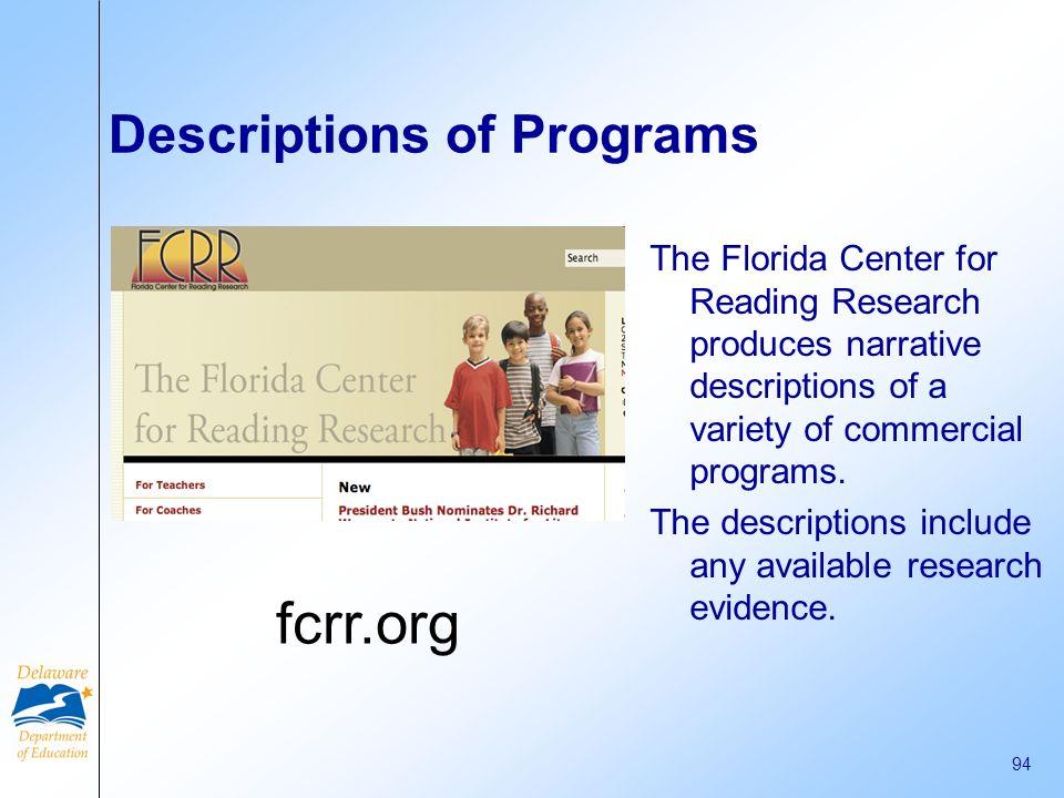 Descriptions of Programs