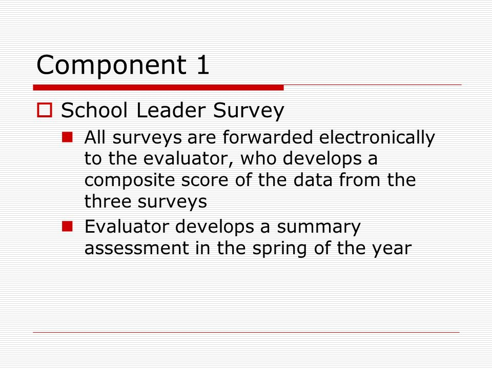Component 1 School Leader Survey