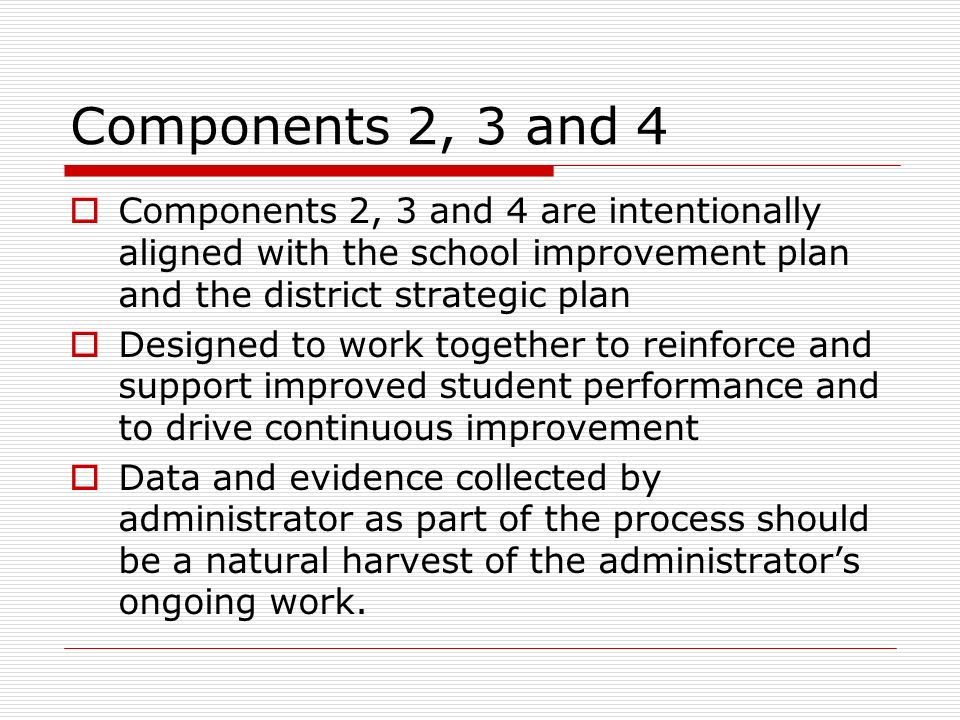 Components 2, 3 and 4 Components 2, 3 and 4 are intentionally aligned with the school improvement plan and the district strategic plan.