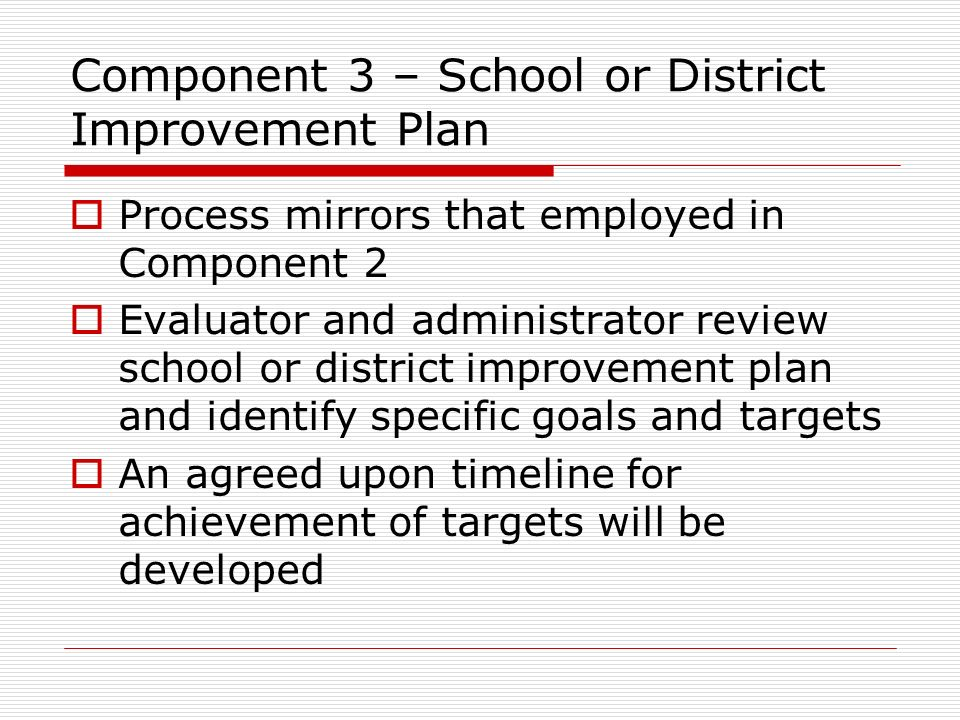 Component 3 – School or District Improvement Plan
