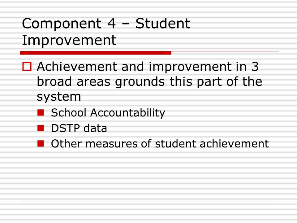 Component 4 – Student Improvement
