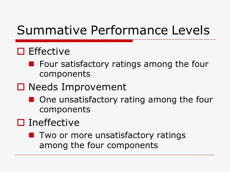 Summative Performance Levels