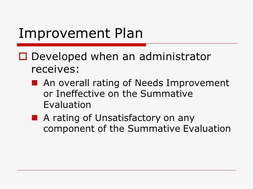 Improvement Plan Developed when an administrator receives: