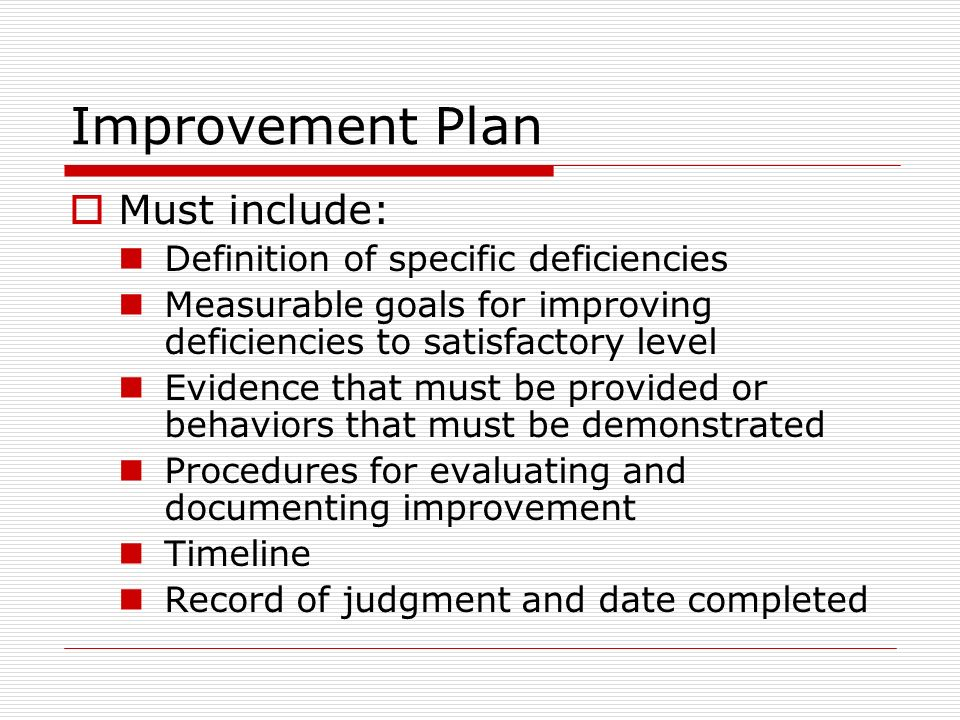 Improvement Plan Must include: Definition of specific deficiencies