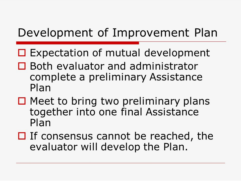 Development of Improvement Plan