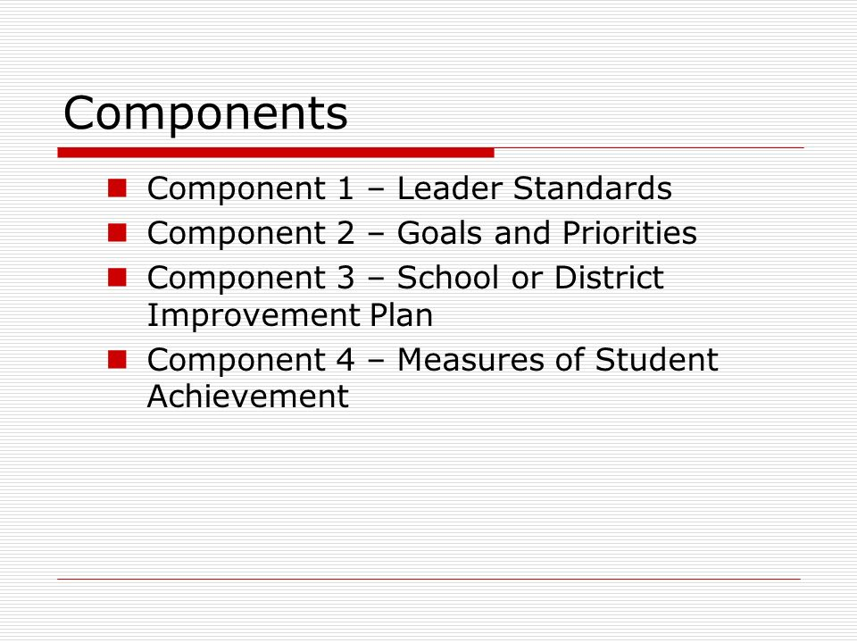 Components Component 1 – Leader Standards
