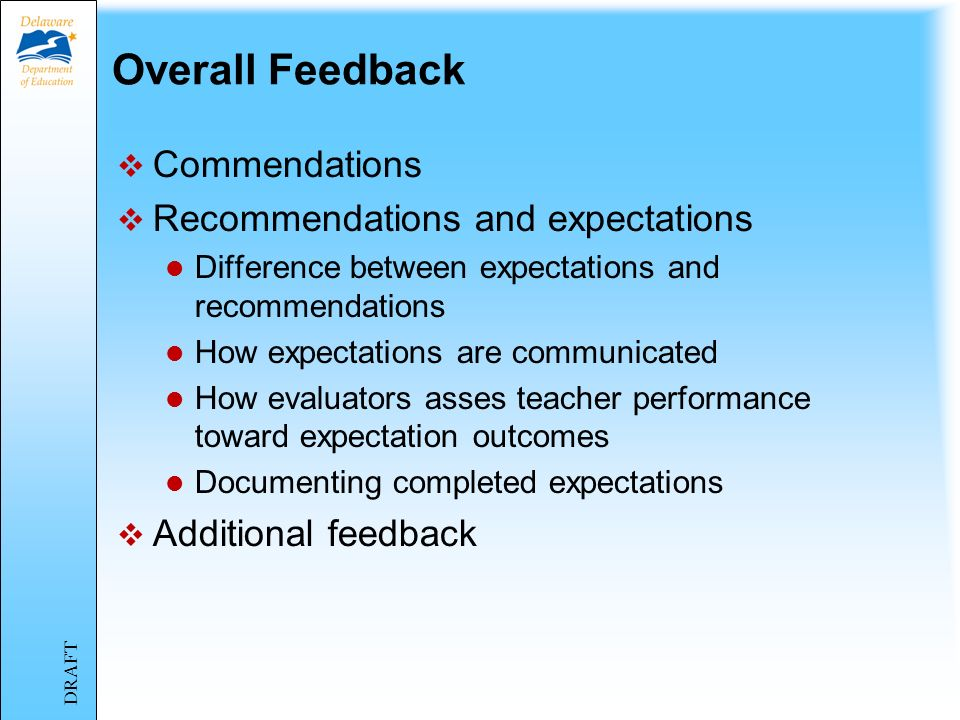 Overall Feedback Commendations Recommendations and expectations