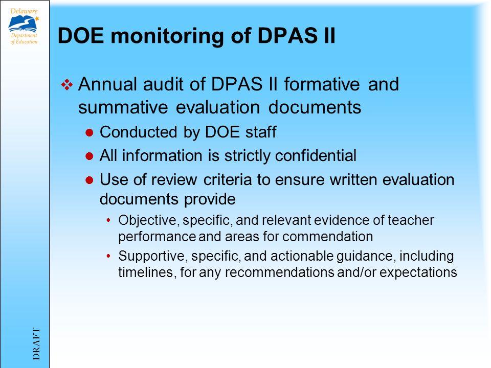 DOE monitoring of DPAS II