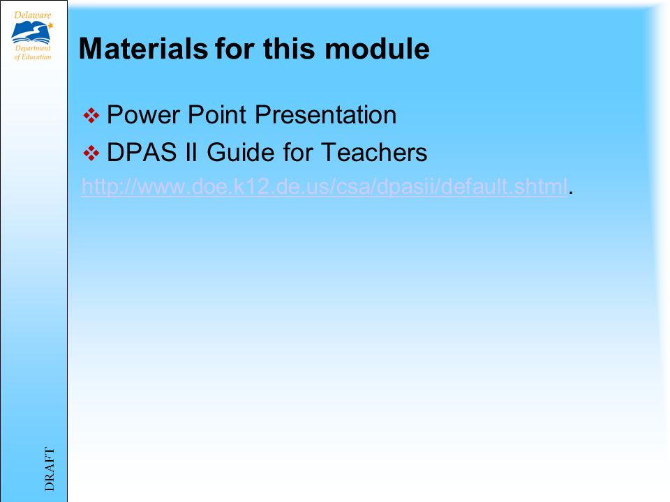 Materials for this module