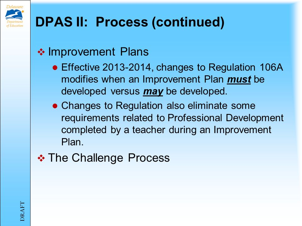 DPAS II: Process (continued)
