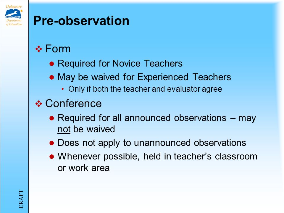 Pre-observation Form Conference Required for Novice Teachers