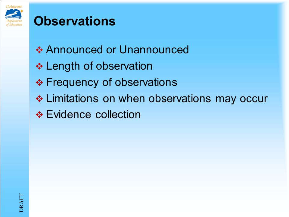 Observations Announced or Unannounced Length of observation