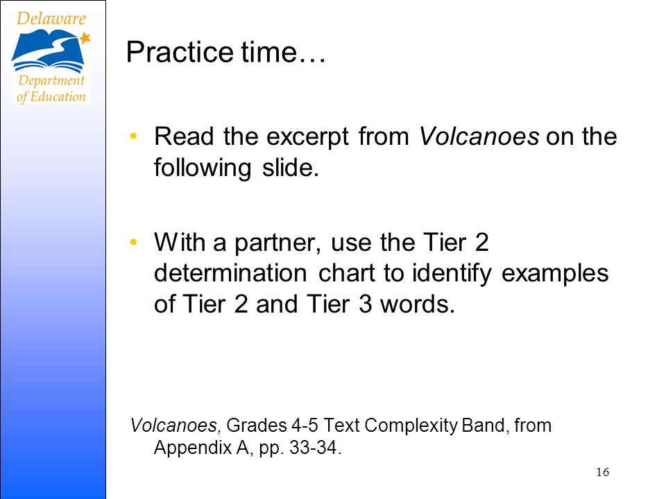 Practice time… Read the excerpt from Volcanoes on the following slide.