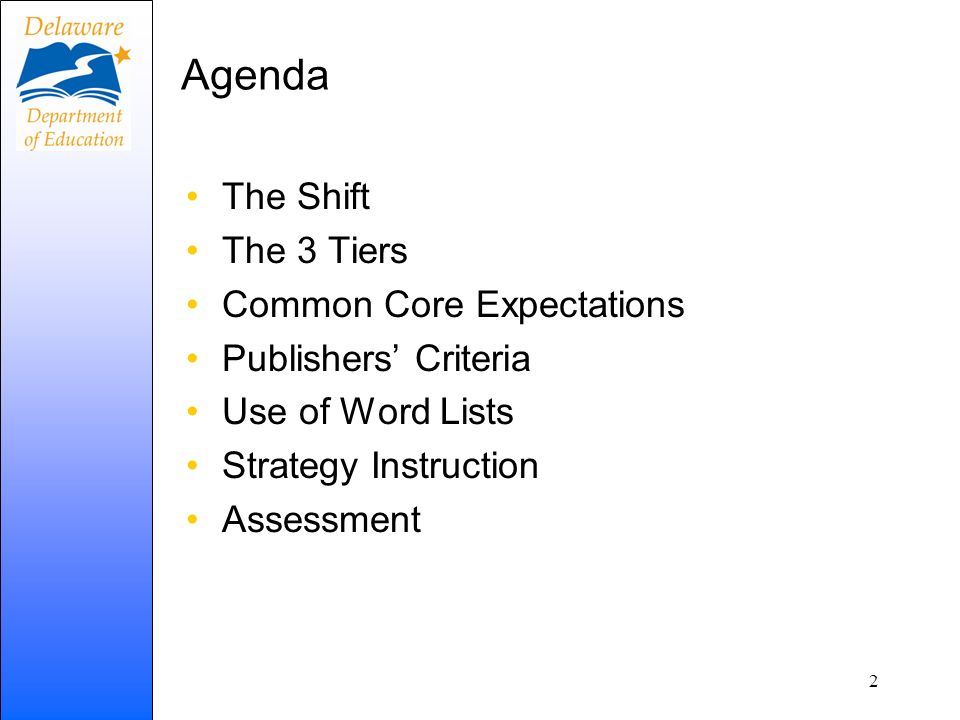 Agenda The Shift The 3 Tiers Common Core Expectations