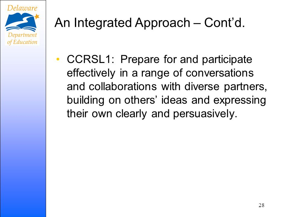 An Integrated Approach – Cont'd.