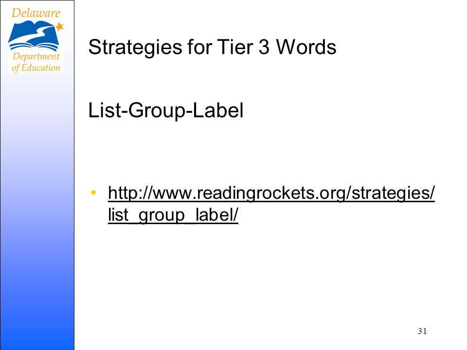 Strategies for Tier 3 Words List-Group-Label