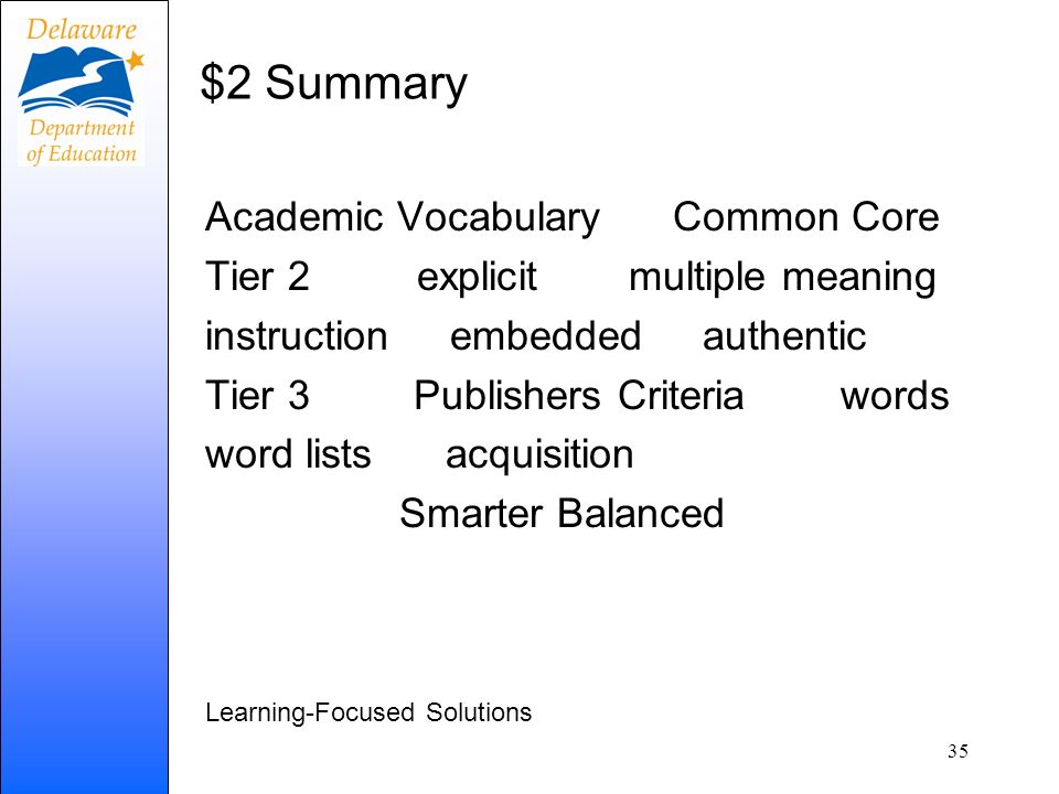 $2 Summary Academic Vocabulary Common Core